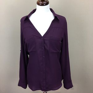 Express Plum Slim Fit Convertible Sleeve Blouse L
